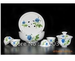 Free Shipping ------Blue roses daily-use ceramics travel tea set 6 pieces per set(China (Mainland))