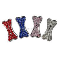 Free shipping (50pcs/lot) 10mm Slider Rhinestone bone Pet Charm for DIY dog collars