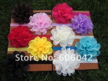 "baby Elastic Headbands,soft stetch headband with  4.5""chiffon silk flowers,50pcs/lot free shipping"