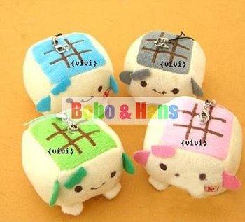 New Cute cartoon tofu small plush charm / Mobile phone Strap Pendant / Wholesale