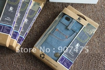 hard cowboy jeans clothing case for iphone 4 4s, cell phone case cover with retail package 20pcs/lot free shipping