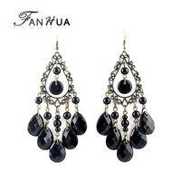 Imitation Gemstone Indian Jewelry  Vintage Black Bead Tassel Dangle Earrings New 2014 Wholesale Items