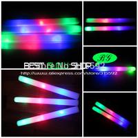Free Shipping 360pcs/lot 4*48cm 3 modes multi color led foam stick foam glow stick light up foam stick for Christmas wedding