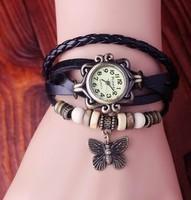 Wholesale Butterfly pendant  women wristwatches ladies Genuine Cow leather fashion quartz watch Vintage women dress watches W123