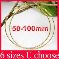 Wholesale 50/60/70/80/90/100mm Gold Basketball Wives Large Hoop Earrings Big Hoop Earrings-Spark Boutique