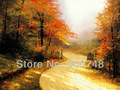 Free shipping HD Thomas kinkade Art work Autumn lane print on canvas landscape painting Christmas gift Famous artists TK-0145