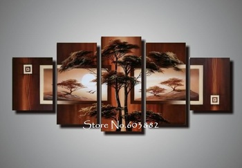 natural natural scenery 100% hand painted oil wall art 5 piece canvas art landscape oil painting decoration