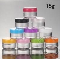 100pcs 15g plastic Cream jar Gel jar Shimmering powder/glitter bottle Eyeshadow Masque Loose powder DIY box with spoon