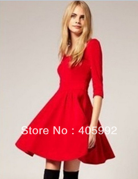 Free shipping ASO* brand dress in black, red, yellow & khaki, made of knitting fabric, princess dress with drape skirt, high qua