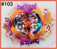 free shipping 100pcs NEWEST Halloween hair bows mix korker bows and boutique hair bows and layered corker bows