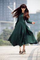 D0093 new women's fashion Dark green linen long dress  Size XS-5XL Drop shipping support!