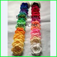 "100pcs/lot 2.5-2.85""in. Handmade Crochet Flowers Appliques Cap Hair Headband Flowers Garment Sewing Accessory Boutique"