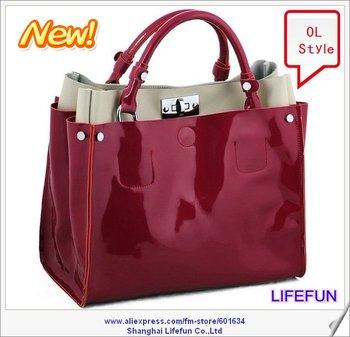 new ladies women OL Patent GENUINE LEATHER tote bag shoulder bag messenger bag handbags brand LF06052 06539