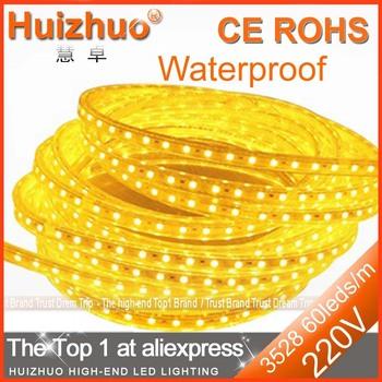 [Huizhuo Lighting]SMD3528 60 leds 220V Only LED Strip Light With Clips Warm White/White/Green/Blue LED Strip