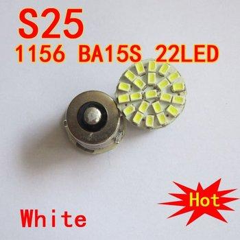 Wholesale Free Shipping 100pcs/lot 12V  S25 BA15S 1156 22LED 1206SMD direction indicator lamp/backup light white