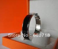 Stunning Designer Clic H Narrow Enamel Bracelet,Silver Plated Hardaware.France Paris Black Enamel Bangle,Womens Favorite Jewelry