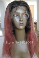 100% Indian virgin hair full lace wigs,  silky straight virgin Indian hauman hair wigs, celebrity wigs,#4/33 two tone color