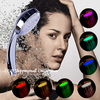 Retailsale LED shower head water flow power (no battery) 7 Colors flashing jump change bathroom faucet light saving water