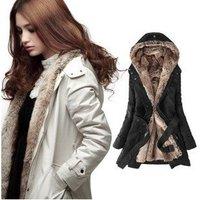 Free shipping Hot sell Women's coat Winter long fur jacket Fur lined coat, black, beige, fashion luxury thick winter jacket