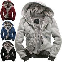 Promotional 2013 New men's plush thick warm Hoody overcoat winter coat fleece & cotton padded Hoodies Mens hooded jacket S-XXXL
