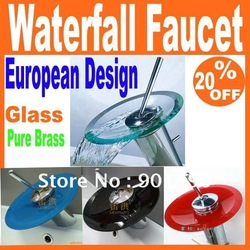 European Design Bathroom Kitchen Basin Mixer Tap Sink Transparent Clear Glass Waterfall Faucet Free Shipping(China (Mainland))