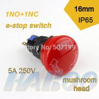 dia.16mm big mushroom emergency stop push button switch 1NO+1NC