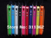 200pcs/lot Wholesale Dual Color Metal Button TPU Bumper Frame Case  for iphone 4S 4GS