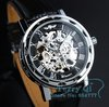Mens Black Skeleton Mechanical Watch Sliver Wrist Watch Gift Free Ship