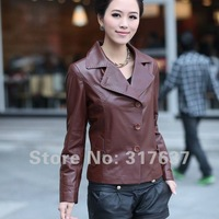 Free Shipping 2014 Spring Arrival Lady Genuine Lambskin Leather Jacket #11105