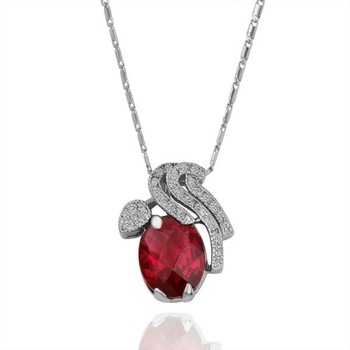 18KGP N148 Red Cherry Healthy Jewelry 18K Plated Plating White Gold Necklace Nickel Free Rhinestone Crystal  Elements