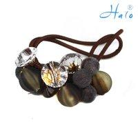 Free Shipping 12pcs/Lot Handmade Bead Lady' Rhinestone Fashion Stretchy wholesale hair accessories HP0031