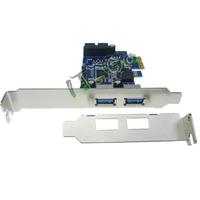Free shipping 10pcs/lot 2 port USB3.0+19 pin USB3.0 PCIe Card PCI-express Adapter With Low Profile Brakcet