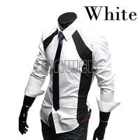 New men's Casual Luxury Stylish Slim Long Sleeve Dress Shirts 3 sizes M L XL white black dropshipping 22
