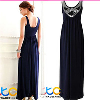 Free Shipping lady vintage maxi dress women fashion without dress long dress YL8434 blue