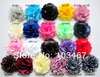 50pcs/lot Lowest Price -21 colors 3'' Satin Mesh Flowers Without Hair Clip Wholesale