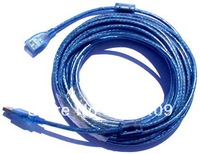 USB AM to AF  With two filter Transparent blue USB Extension Cable 10M