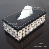 Free shipping rectangular tissue napkin box cover for home decoration white and black check  A088