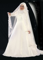 Custom Made Off Discount Freeshipping Classical A-Line Satin Islamic Wedding Dress Muslim Weding Apparel