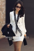 New 2013 Korean fall and winter fashion new ladies OL round neck long sleeve casual career dress sexy skirts dresses Black,White