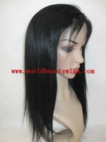 "(Gift+Top Quality+Freeshipping) glueless full lace wig Chinese remy hair 18"" 1# silky straight no tangle,no shedding"
