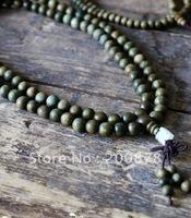 BRO933  Buddhist 108 Green Sandalwood prayer beads malas,8mm,natural wood beaded bracelets,best offer