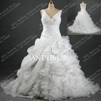 New Arrival V Neck 2012 Wedding Dress White with Crystals Beaded Ball Gown Design Fashion Ruffles Sparking Belt ML444