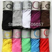 Free Shipping--10pcs men cotton underwear Solid color series boxers underwear Size M L XL