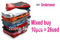 Free Shipping--hot 10pcs/lot men cotton underwear 365 Solid color series Boxers Briefs men underwear Boxer Briefs wholesale