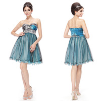 HE03345BL Ever Pretty Strapless Printed Padded Sweetheart Neckline Blues Homecoming Dress 2014
