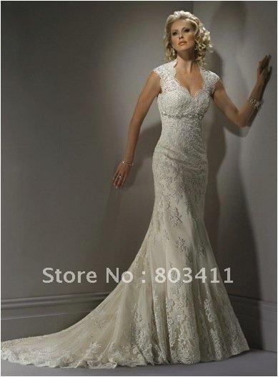 Hot Sale Elegant Mermaid Sleeveless Lace Wedding Dress(China (Mainland))