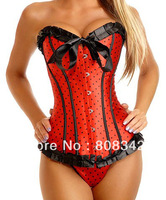 Free Shipping Push Up Corset Lingerie with G-string Sexy Bustier Underwear White Blue Black Red Pink  5205 -XM