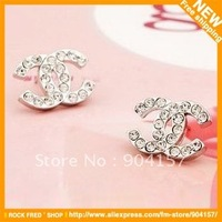 Stud Earrings.Jewelry stands.Luxury brands.Fashion.Full drill.Women's.Free shipping.45 pair/lot.Designer.2012 New
