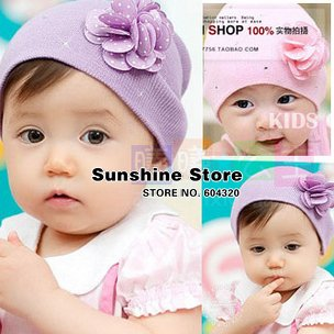 Sunshine store #2C2536 20pcs/lot(2 COLORS)baby girls hat infant beanies flower dolka dot knitted cap shower purple pink CPAM(China (Mainland))