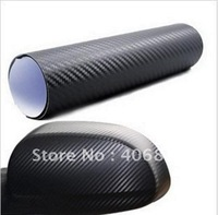 Free shipping 3D30cm x127cm Carbon Fibre sticker Vinyl Sheet BLACK for all car